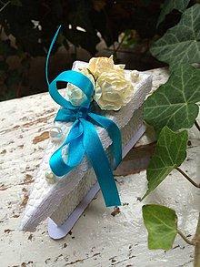 Darčeky pre svadobčanov - Darčeková krabička {modrá lagúna} - 4162891_