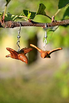 Náušnice - Free as a bird - Drevené náušnice - 4169631_
