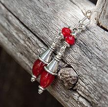 Náušnice - Červené olivky v starostriebre - 4169288_