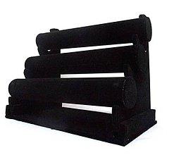Pomôcky/Nástroje - 3-radový stojan na náramky semiš čierny - 4169640_