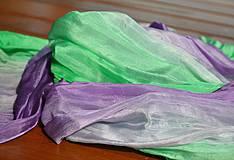 Šály - Fialkovo - zelená vrapovaná hedvábná šála - 4170643_