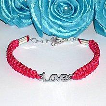 Náramky - Tmavo- ružový náramok Love - 4173912_