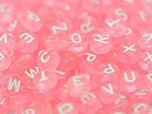 Korálky abeceda rúžové priehľadné (balíček 500ks)