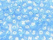Korálky abeceda modré priehľadné (balíček 500ks)