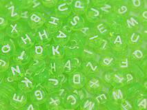 Korálky abeceda zelené priehľadné (balíček 500ks)