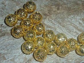 Korálky - Kovová korálka f. zlatá 10mm - 4181942_