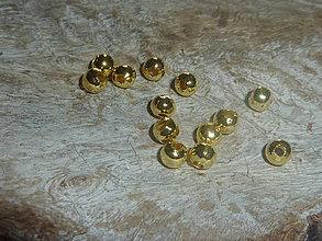 Korálky - Kovová korálka f. zlatá 5mm - 4181992_