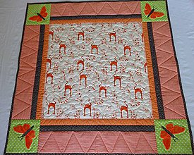 Úžitkový textil - Deka s aplikáciou motýľa - 4181455_