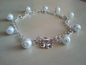 Náramky - Biely perličkový nákotník/náramok - 4189301_