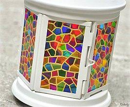 Svietidlá a sviečky - Maľovaný lampáš - Mozaika - 4191445_