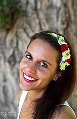 Ozdoby do vlasov - textilná čelenka s kvietkami - 4199805_