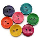 Drevené gombíčky farebné 15mm (veľký balíček 50ks)