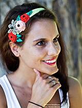 Ozdoby do vlasov - textilná čelenka s kvetmi - 4202264_