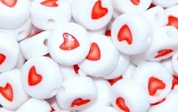 Korálky - Korálky červené srdiečka (balíček 10ks) - 4201235_
