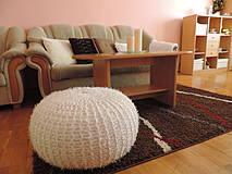 Úžitkový textil - Puf chlpatý biely - 4202653_