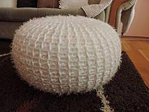 Úžitkový textil - Puf chlpatý biely - 4202654_