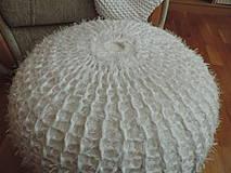 Úžitkový textil - Puf chlpatý biely - 4202657_
