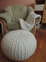 Úžitkový textil - Puf chlpatý biely - 4202661_