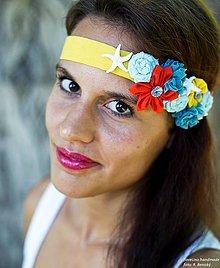 Ozdoby do vlasov - textilná čelenka k moru - morská hviezdica - 4205161_