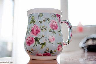 Nádoby - Šálka na kávu - ruže na modrom - 4206980_