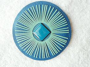 Odznaky/Brošne - Brošňa kožená, lúče z tyrkysu - 4207151_