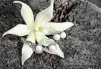 Sady šperkov - strieborná súprava s bielymi perlami - Čaro perál - 4208317_