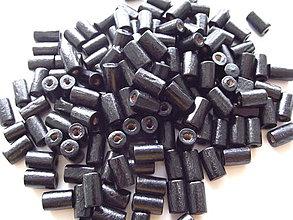 Korálky - Čierne drevené valčeky 8x4mm - 4210788_