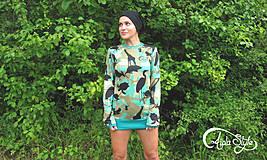 "Mikiny - ""animal camo turquoise"" - 4211649_"