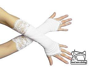 Rukavice - Rukavičky pre nevestu biele s čipkou   1320 - 4214435_