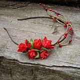 Ozdoby do vlasov - Červené ružičky II - 4216067_