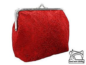 Kabelky - Čipková kabelka červena , taštička   0590A - 4219950_