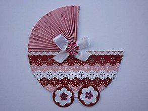 Papiernictvo - Bordovo-ružový kočík - 4219626_