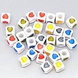 - Plastové korálky srdiečka kocky (balíček 10ks) - 4220315_