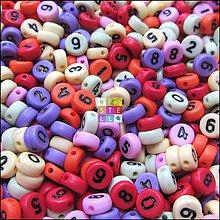 Korálky - (4182) Plastové čísla, 7 mm - 50 ks - 4223282_