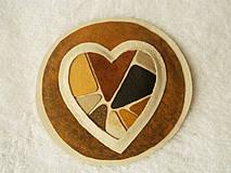 - Brošňa kožená, láska mozaiková - 4221034_