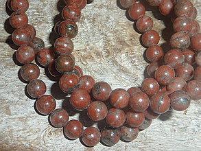 Minerály - Jaspis sézam červený 6mm - 4226235_