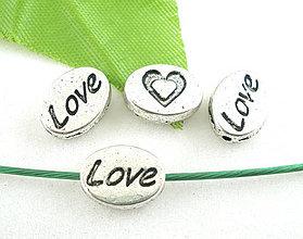 Korálky - Strieborná korálka s nápisom LOVE - 4223607_