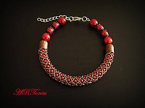 Náramky - Červeno-bronzový perličkový náramok - 4225212_