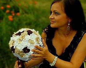 Kytice pre nevestu - Svadobná látková kytica Latte Macchiato - 4227959_