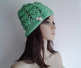 Čiapky - Zelená jarná čiapka - 4227367_
