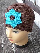 Čiapky - hnedá s tyrkysovým kvetom :) - 4226730_