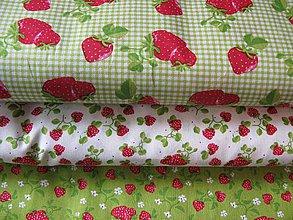 Textil - Jahody - zelená kocka - 4234940_