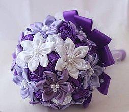 Kytice pre nevestu - Fialová svadobná látková kytica - 4234252_