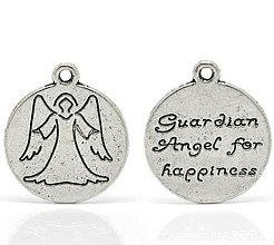 Komponenty - Prívesok ochranný anjelik s nápisom - 4235368_