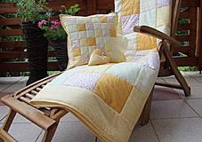 Úžitkový textil - prehoz na posteľ patchwork deka 140x200 alebo 220x220 smotanovo - žltá - 4239391_