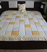 Úžitkový textil - prehoz na posteľ patchwork deka 140x200 alebo 220x220 smotanovo - žltá - 4239393_