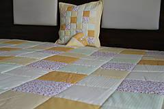 Úžitkový textil - prehoz na posteľ patchwork deka 140x200 alebo 220x220 smotanovo - žltá - 4239400_