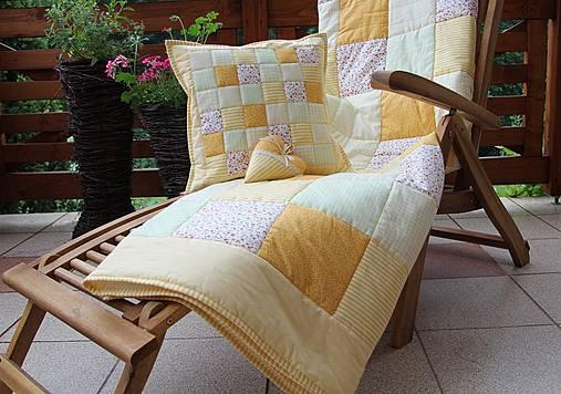 prehoz na posteľ patchwork deka 140x200 alebo 220x220 smotanovo - žltá