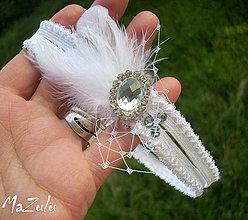 Bielizeň/Plavky - svadobný podväzok so štrasom - 4238349_