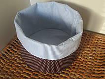 Úžitkový textil - košík hnedomodrý - 4235800_